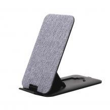 GEARGEAR Trådlös QI Laddare USB-C Ansl. 10W Grå Textil Ställfunktion