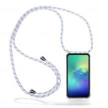 CoveredGear-NecklaceCoveredGear Necklace Case Samsung Galaxy S10e - White Stripes Cord
