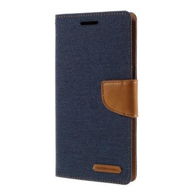 Mercury Canvas Diary Plånboksfodral till Samsung Galaxy S6 Edge Plus - MörkBlå