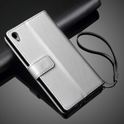 Plånboksfodral läder till Sony Xperia Z5 - Vit