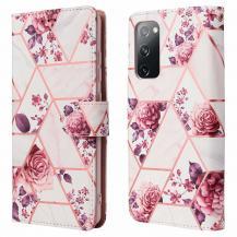 A-One BrandMarble Grid Plånboksfodral till Galaxy S20 FE - Roses