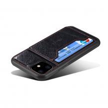 A-One BrandCrazy Horse Skal med Kortfack för iPhone 11 - Svart
