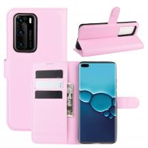A-One BrandLitchi Plånboksfodral till Huawei P40 - Rosa