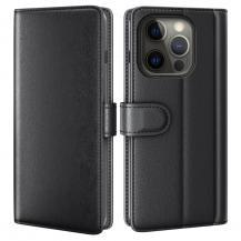 A-One BrandÄkta Läder Fodral till iPhone 13 Pro Max - Svart