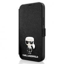 KARL LAGERFELDKarl Lagerfeld Plånboksfodral iPhone 12 Mini Saffiano Ikonik Metal - Svart