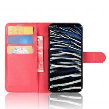 A-One BrandLitchi Plånboksfodral till iPhone XS / X - Röd