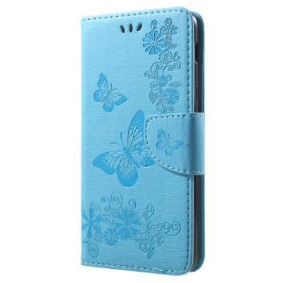 Butterfly Flowers Plånboksfodral Till Samsung Galaxy A6 Plus (2018) - Blå
