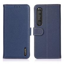 KHAZNEHKHAZNEH - Äkta läder Plånboksfodral Sony Xperia 1 III - Blå
