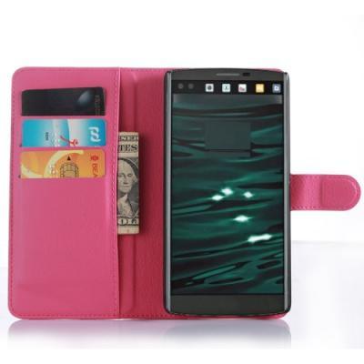 Lychee Skin Plånboksfodral till LG V10 - Magenta