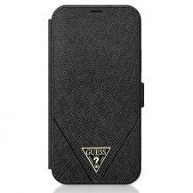 GuessGuess Plånboksfodral iPhone 12 mini Saffiano - Svart