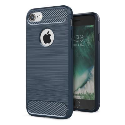 Carbon Fiber Brushed Mobilskal iPhone 7/8/SE 2020 - Blå