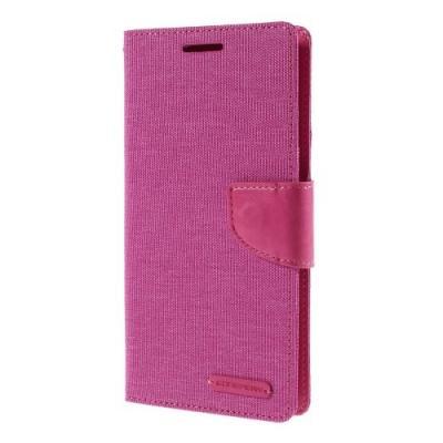 Mercury Canvas Diary Plånboksfodral till Samsung Galaxy S6 Edge Plus - Magenta