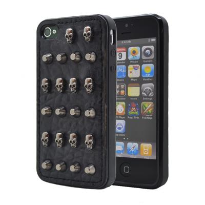Studded leather pattern FlexiSkal till Apple iPhone 4S/4 (Point Skulls)