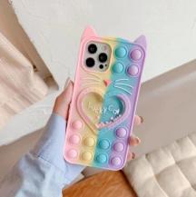 Fidget ToysLove Cat Pop it Fidget Skal iPhone 11 - Rainbow
