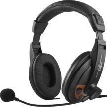 DeltacoDeltaco headset, sluten, volymkontroll på kabeln - Svart