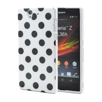 Polka dot FlexiCase Skal till Sony Xperia Z (Vit)