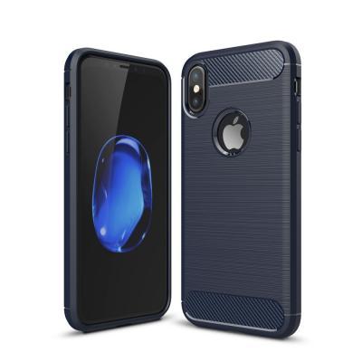 Carbon Fiber Brushed Mobilskal till iPhone XS / X - Blå