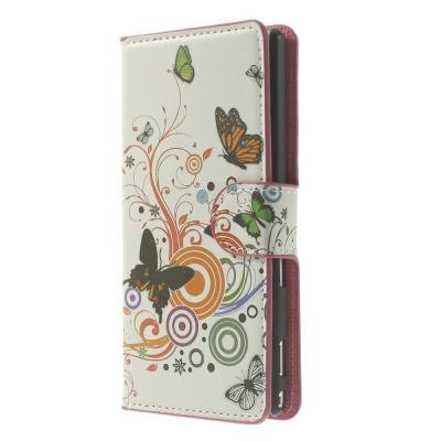 Plånboksfodral till Sony Xperia M2 - Three Butterflies