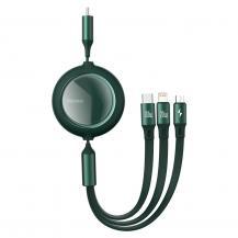 BASEUSBaseus Retractable Kabel 3in1 Lightning - Micro USB - Type C 100W 1,2m - Grön