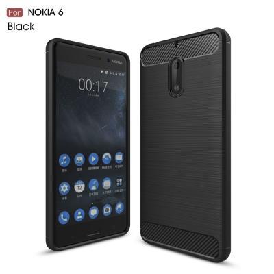 Carbon Brushed Skal till Nokia 6 - Svart