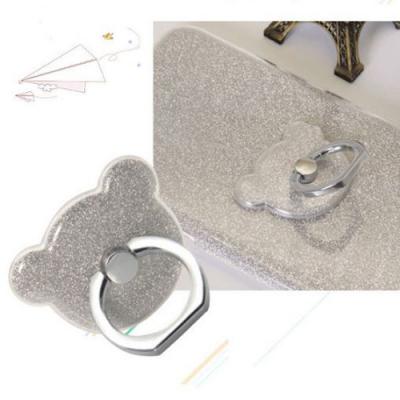 NalleBjörn Glitter Ringhållare till Mobiltelefon - Silver