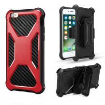 A-One Brand2-in-1 mobilskal med bältesfodral till iPhone 7/8/SE 2020 - Röd