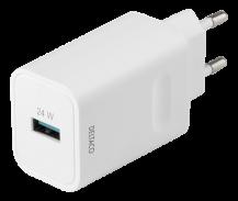 DeltacoDELTACO - USB-A väggladdare med snabbladdning 24W