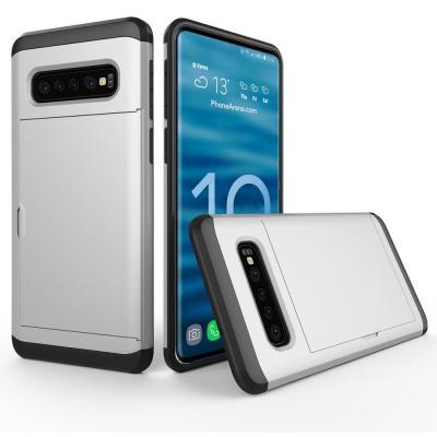 Hybrid Armor med Kortplats till Samsung Galaxy S10 Plus - Silver