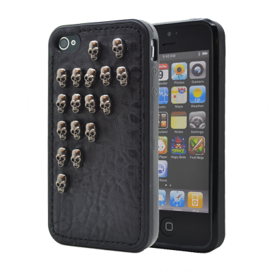Studded leather pattern FlexiSkal till Apple iPhone 4S/4 (Half Skulls)