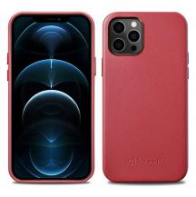 ICARERiCarer Äkta Läder Magsafe Skal iPhone 12 / 12 Pro - Röd