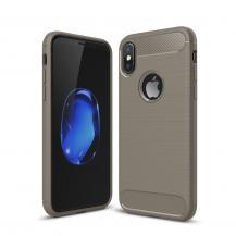 A-One BrandCarbon Fiber Brushed Mobilskal till iPhone XS / X - Grå