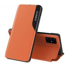HurtelEco Leather View Case Fodral Galaxy S20 Ultra orange