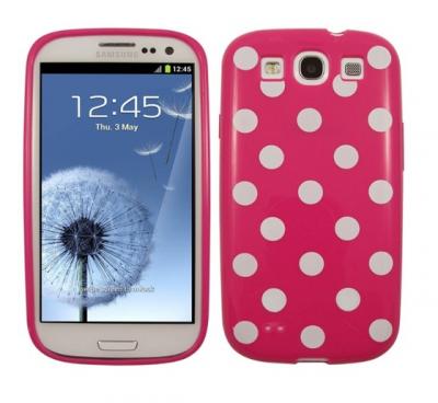 Polka dot FlexiCase Skal till Samsung Galaxy S3 i9300 (Magenta)