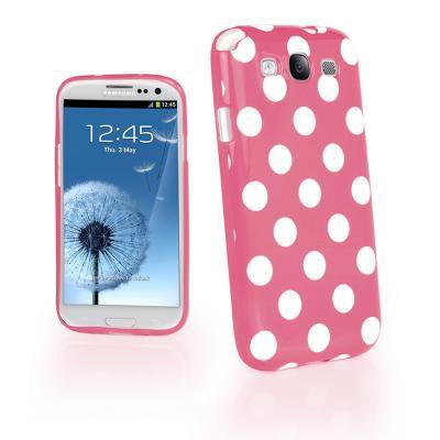 Polka dot FlexiCase Skal till Samsung Galaxy S3 i9300 (Rosa)