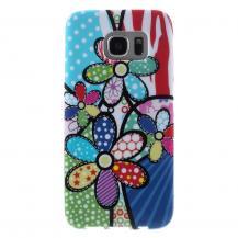 OEMFlexicase Skal till Samsung Galaxy S7 Edge - Blue Dot Flower