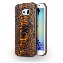 QIALINOQialino Äkta Läder BaksideSkal till Samsung Galaxy S6 - Brun