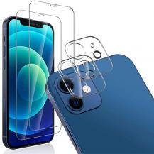 A-One Brand[4-PACK] 2 Linsskydd Härdat Glas & 2 Härdat glas iPhone 12