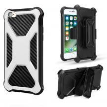 A-One Brand2-in-1 mobilskal med bältesfodral till iPhone 7/8/SE 2020 - Vit