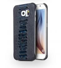 QIALINOQialino Äkta Läder BaksideSkal till Samsung Galaxy S6 Edge - MörkBlå