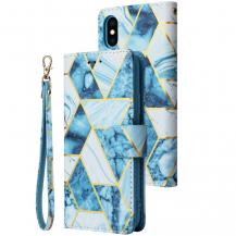 A-One BrandMarble Grid Plånboksfodral till Galaxy S21 Plus - Blå
