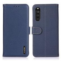 KHAZNEHKHAZNEH - Äkta läder Plånboksfodral Sony Xperia 10 III - Blå