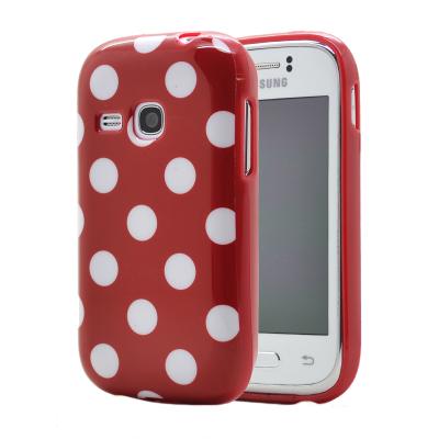 Polka dots FlexiSkal till Samsung Galaxy Young S6310 (Röd)
