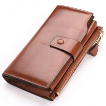 JINBAOLAIJINBAOLAI Tri-fold Multipurpose Plånbok för kvinnor - Brun