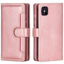 OEMMultiple Card Slots Äkta Läder Plånboksfodral iPhone 12 & 12 Pro - Rose Gold