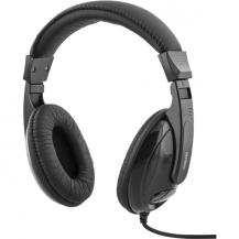 DeltacoDELTACO hörlurar, sluten, volymkontroll, 2,5m kabel, svart