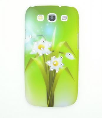 Diamant Baksideskal till Samsung Galaxy S3 i9300 Vita blommor