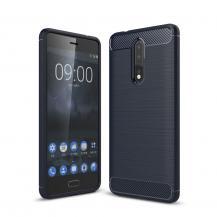 OEMCarbon Brushed Skal till Nokia 8 - Blå