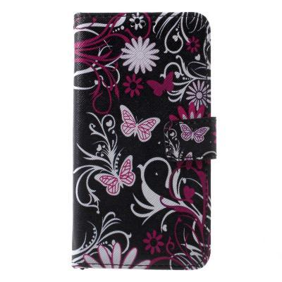 Plånboksfodral till Microsoft Lumia 650 - Butterflies and flowers