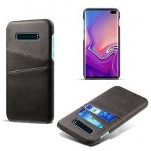 A-One BrandCrazy Horse Skal med 2 Kortfack till Samsung Galaxy S10 Plus - Svart