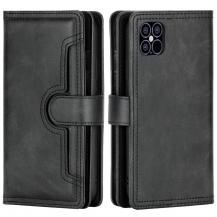 OEMMultiple Card Slots Äkta Läder Plånboksfodral iPhone 12 | 12 Pro - Svart